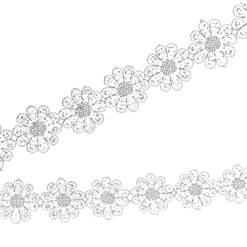 Tira guipur de flores 25 mm blanco