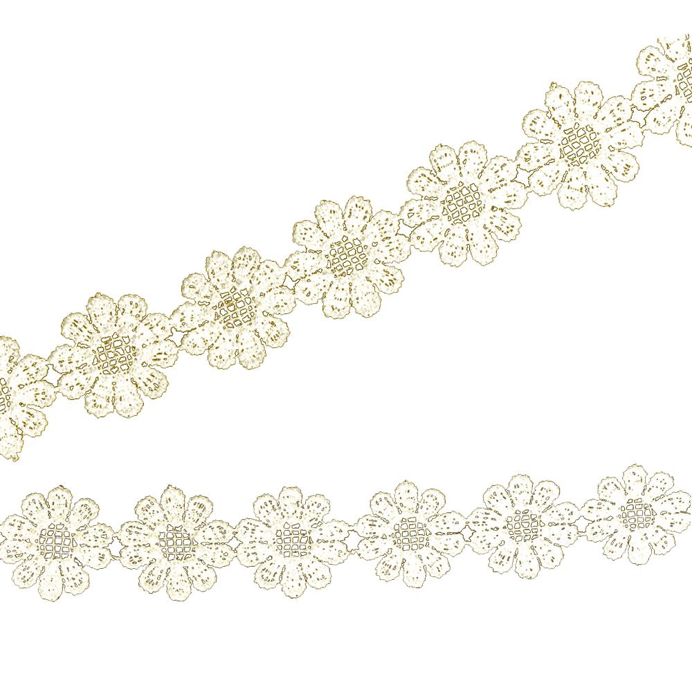 Tira guipur de flores 25 mm crudo
