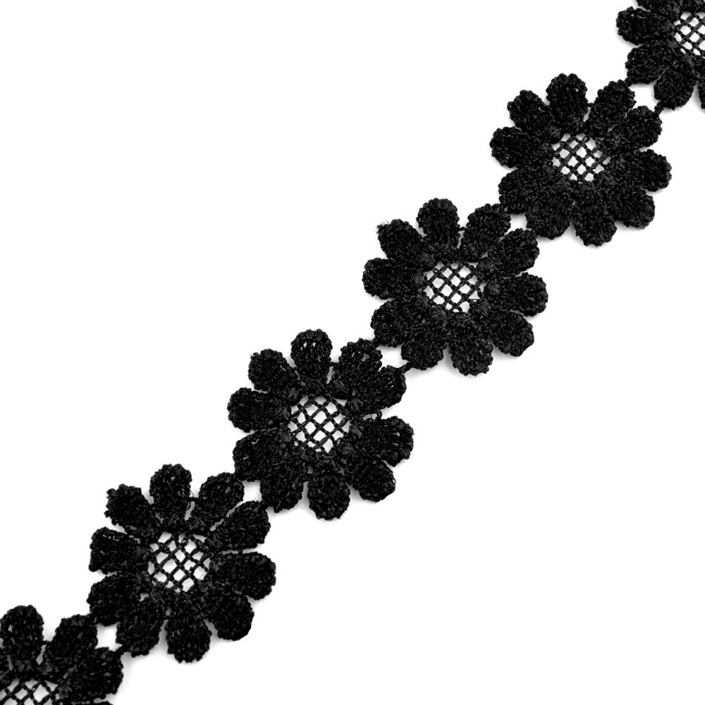 Tira guipur de flores 25 mm negro