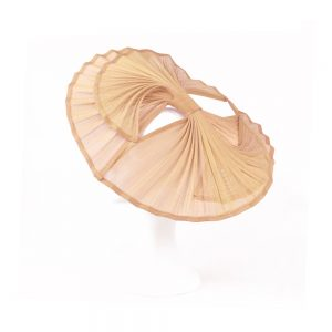 Triple Abanico sinamay seda rosa nude