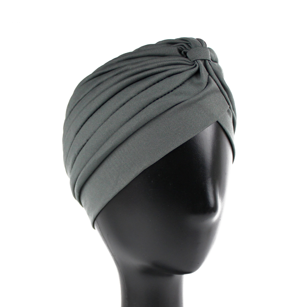 Turbante cerrado licra gris oscuro
