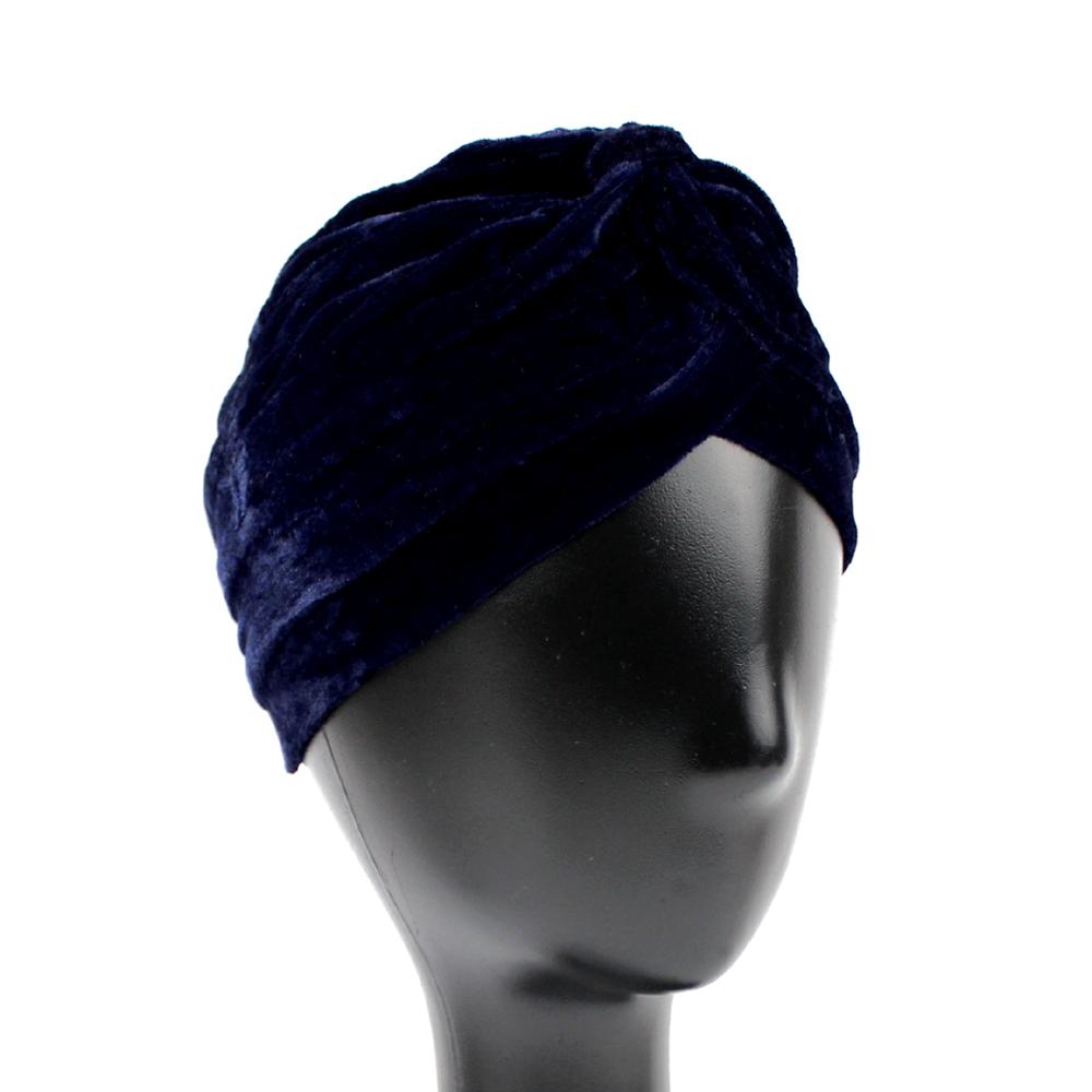 Turbante cerrado terciopelo azul marino