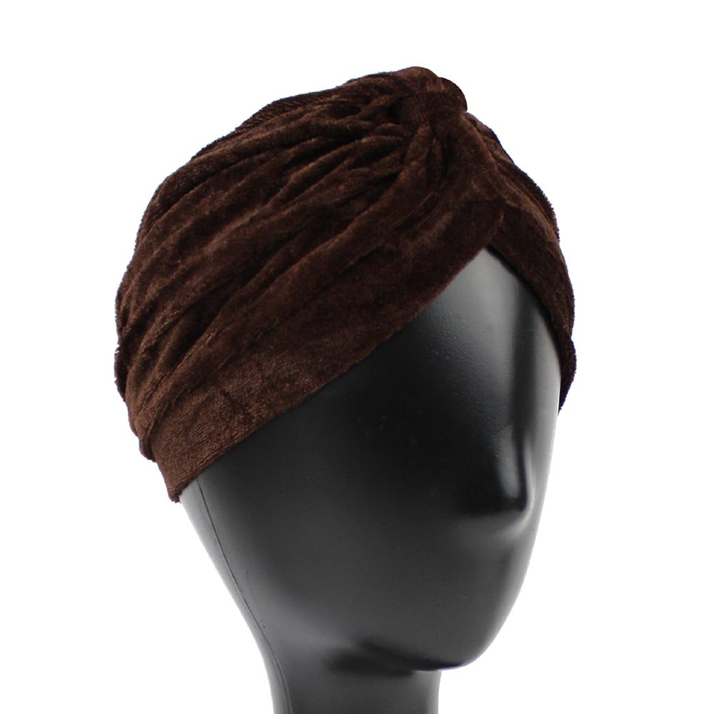 Turbante cerrado terciopelo marrón