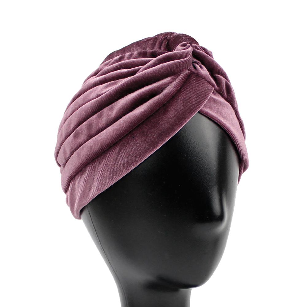 Turbante cerrado terciopelo rosa nude oscuro