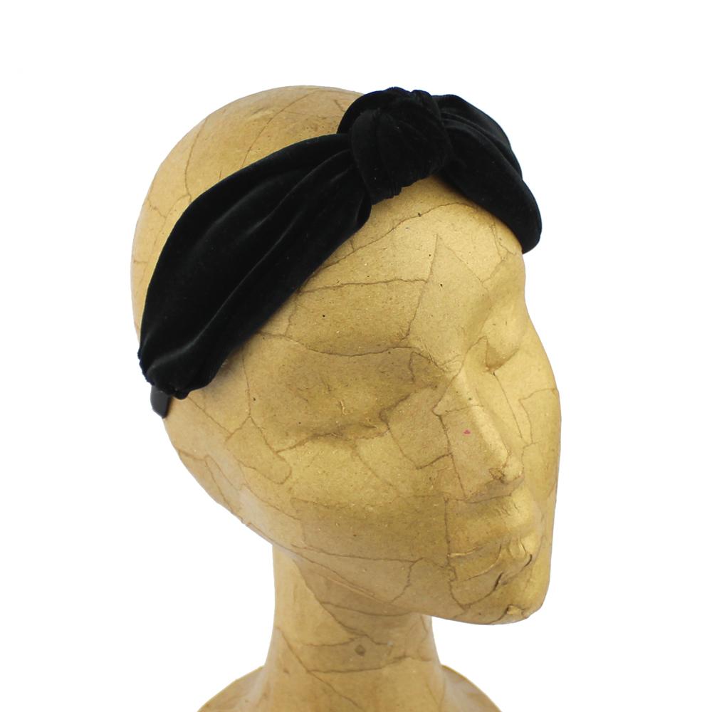 Turbante diadema terciopelo negro