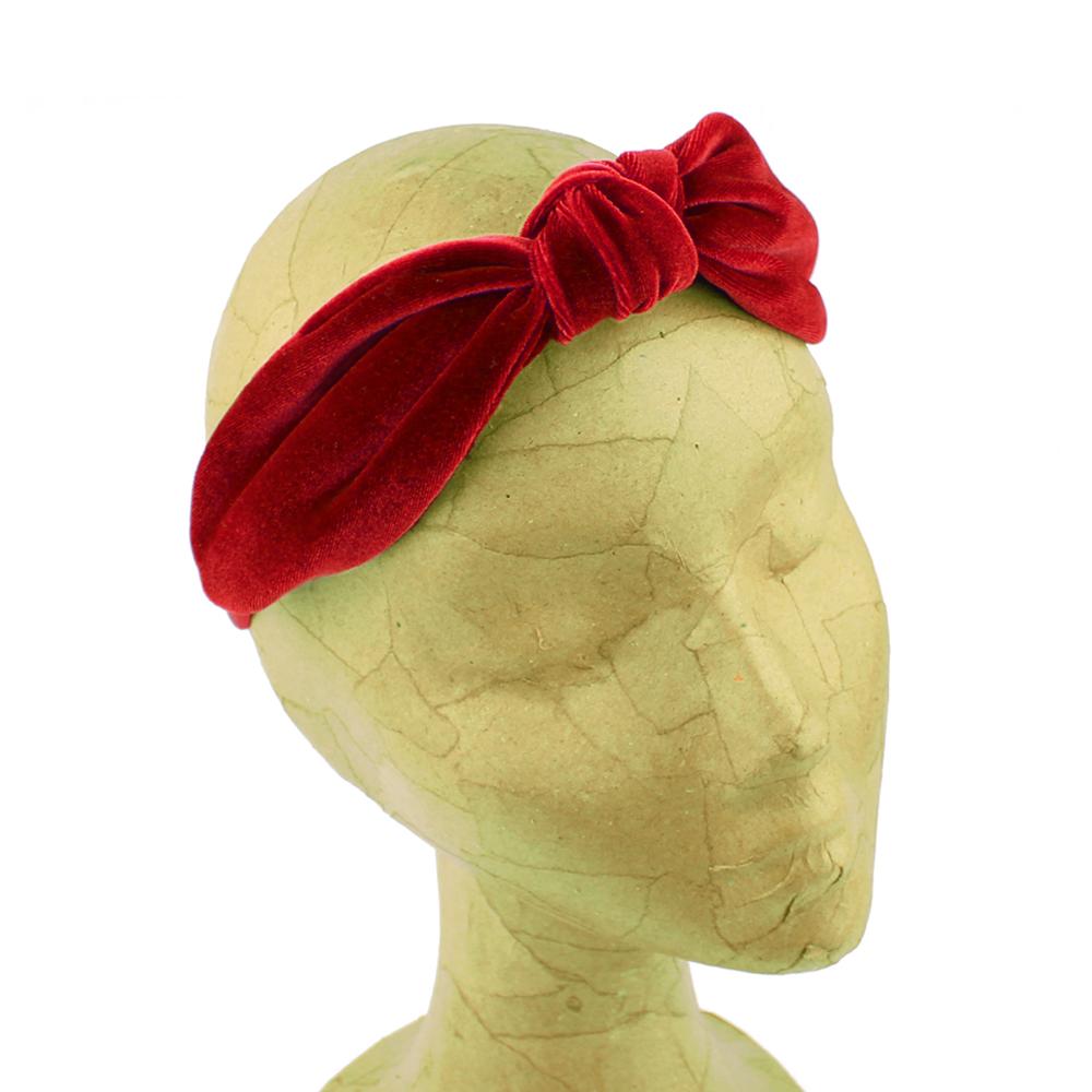 Turbante diadema terciopelo rojo