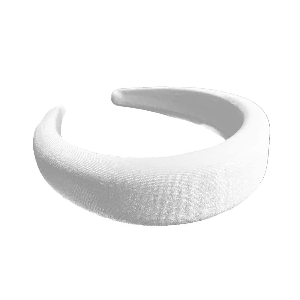 Turbante forrado de terciopelo blanco