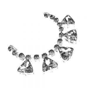 aplicacion de bisuteria triangulos 19×2.5 cm plata