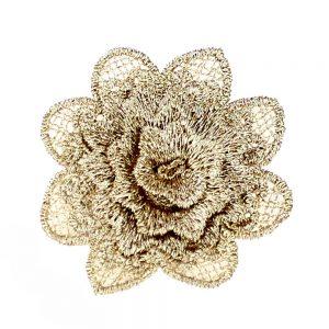 aplicacion flor encaje oro