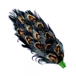 aplique plumas faisan strass negro