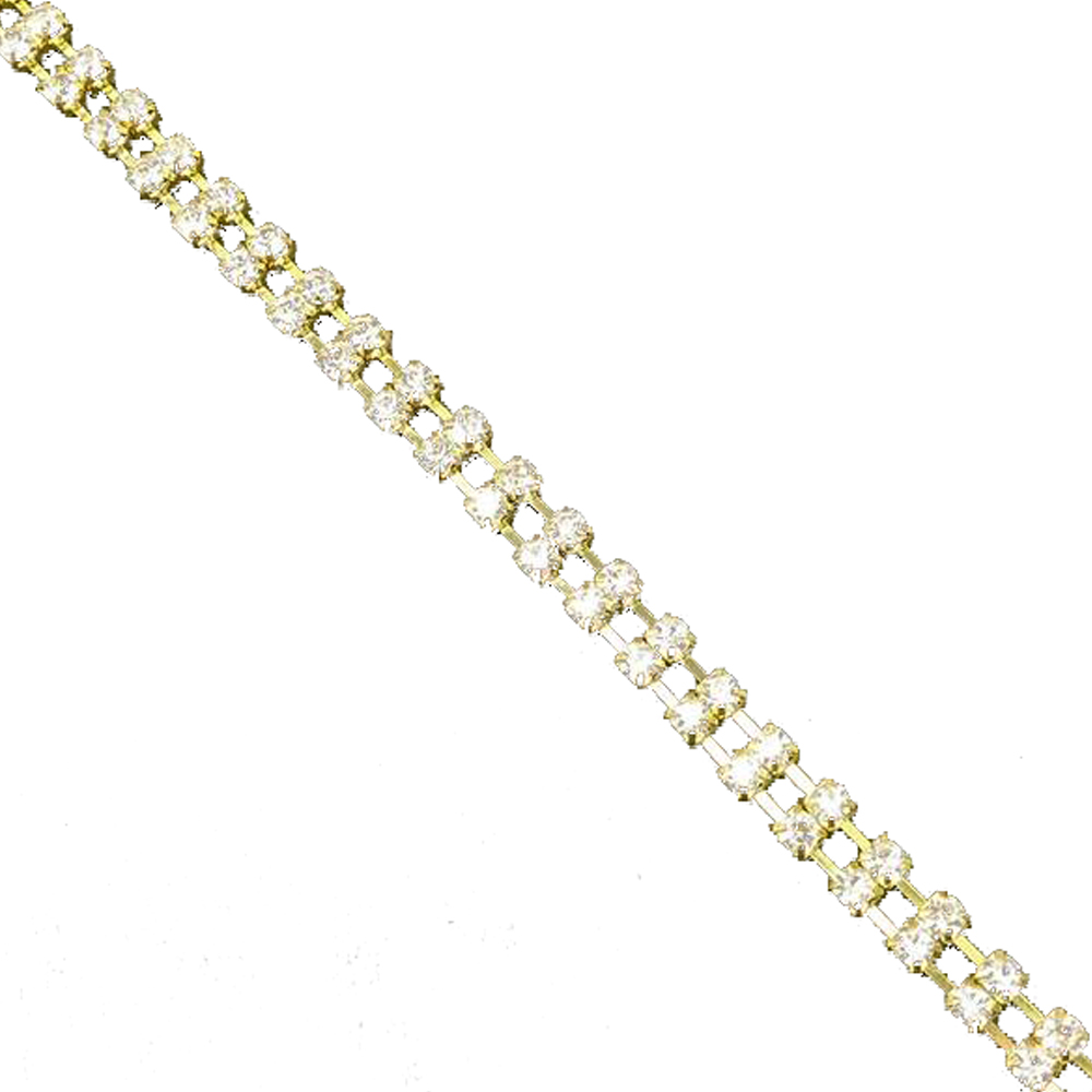 cadena doble strass 5mm oro