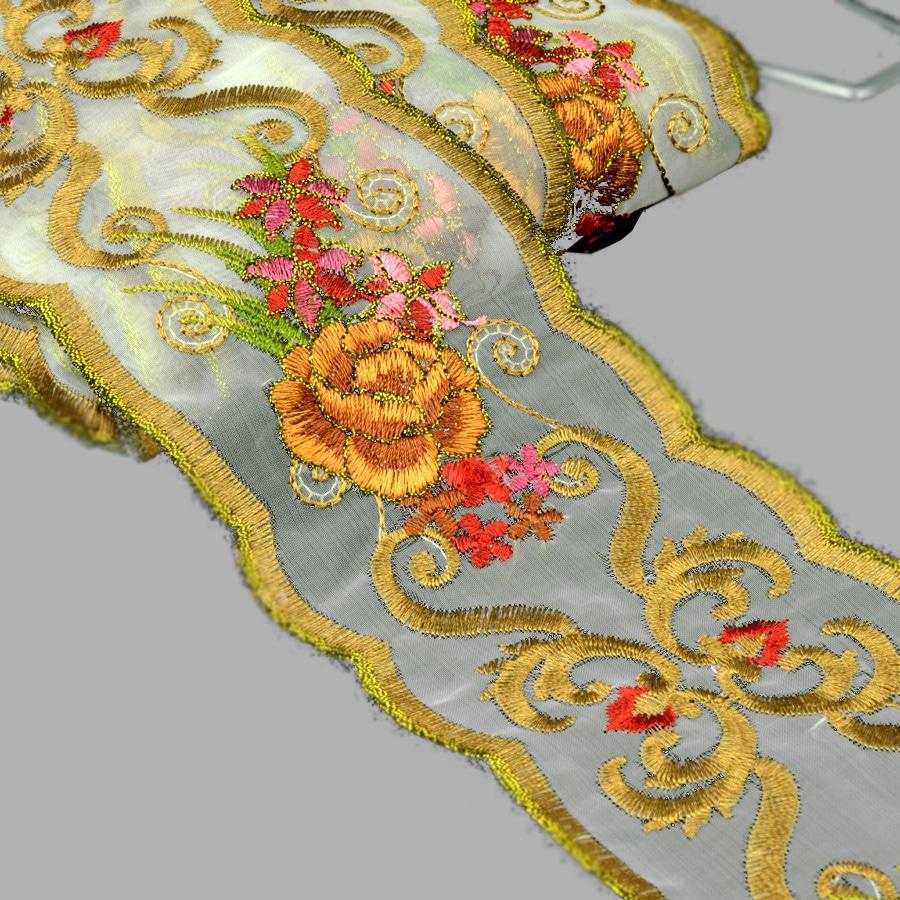 cinta bordada 7 cm dorado y marrón