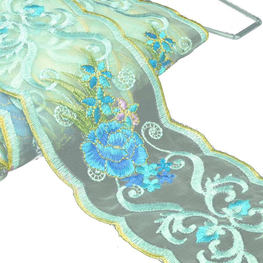 cinta bordada 7 cm tonos azules