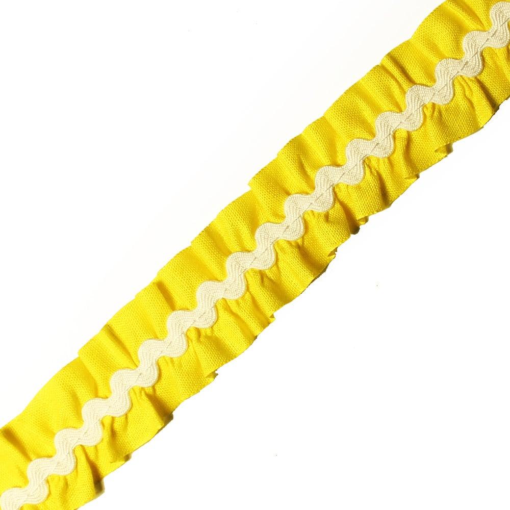 cinta fruncida ondulinas 2 cm amarillo