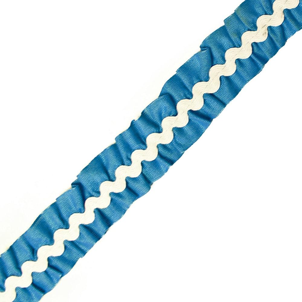 cinta fruncida ondulinas 2 cm azul klein