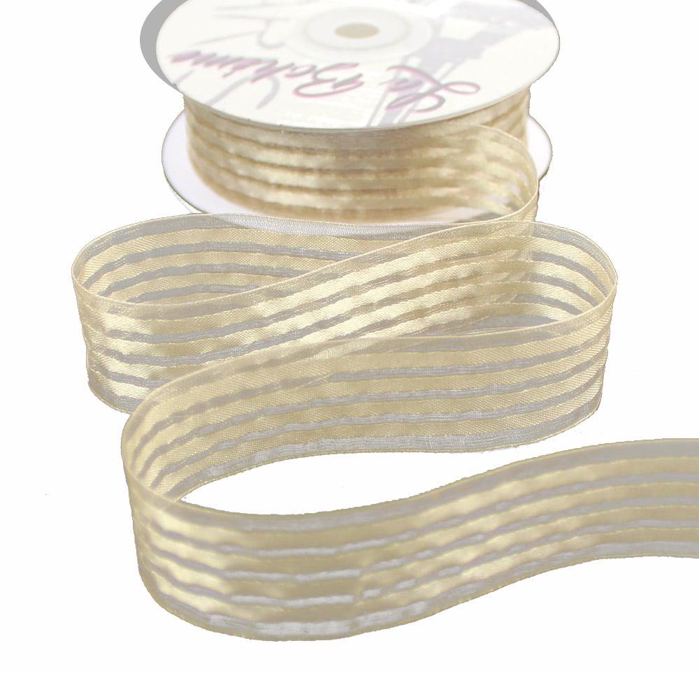 cinta organza 5 bandas beige