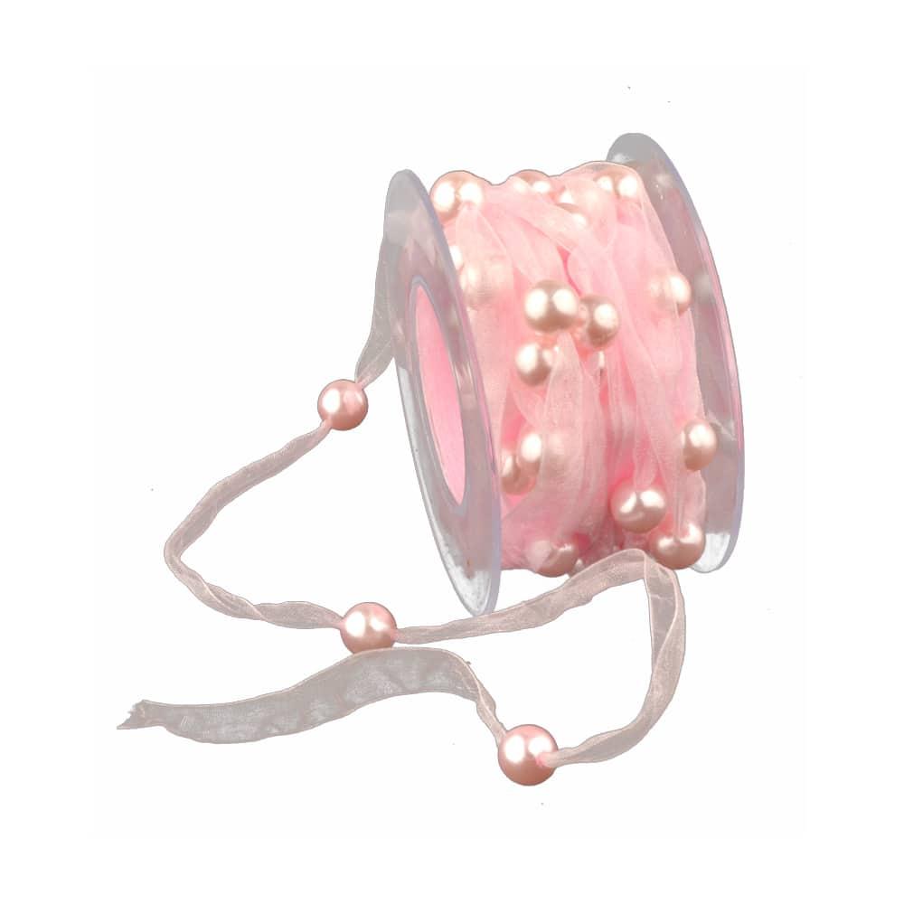 cinta organza perlada rosa