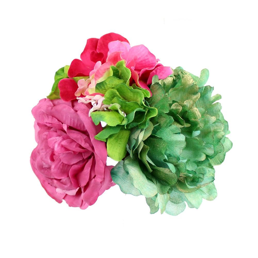 conjunto floral rocio buganvilla y verde botella 2