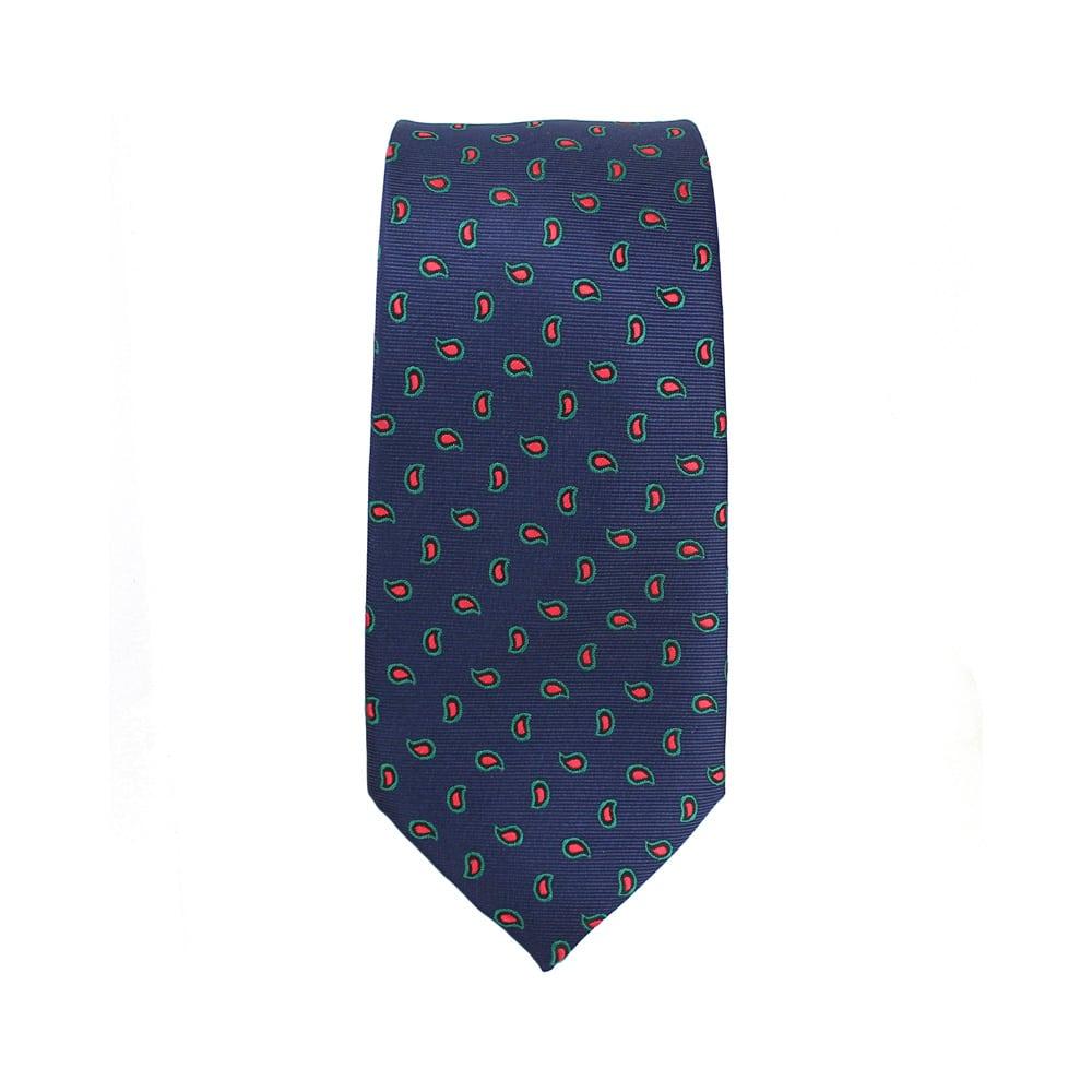 corbata abel mini paisley azul marino