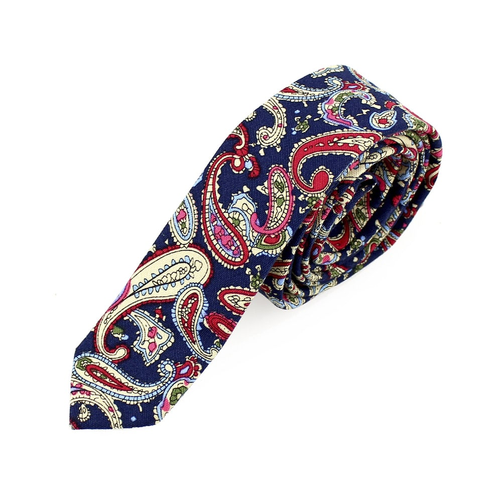 corbata antuan slim paisley azul marino