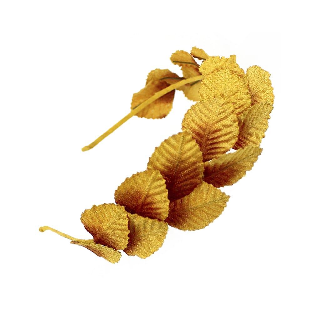 diadema hojas de terciopelo mostaza