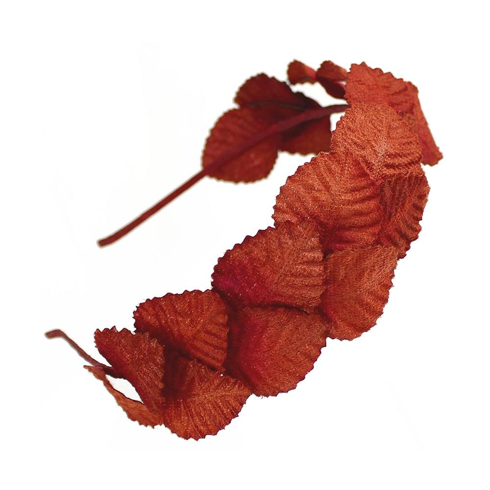 diadema hojas de terciopelo rojo caldera