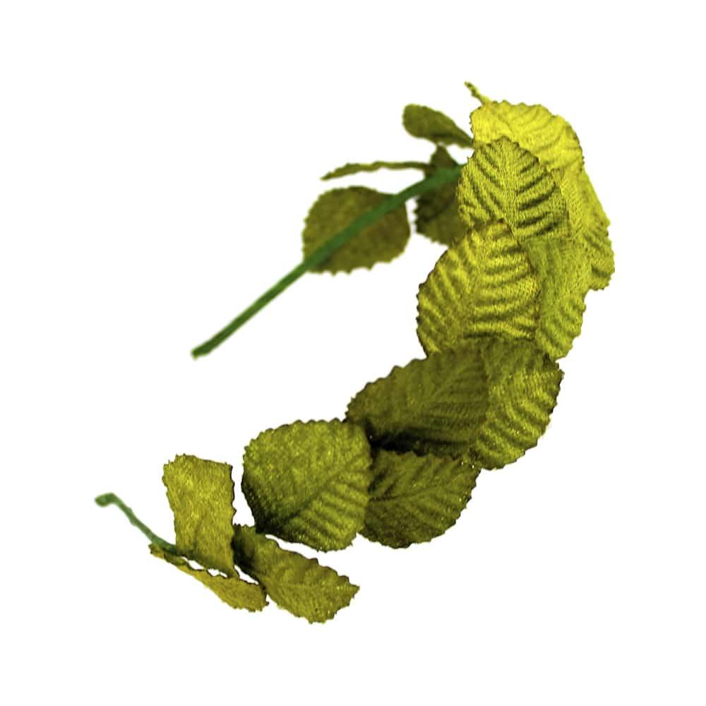 diadema hojas de terciopelo verde medio