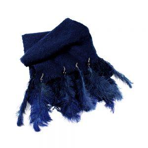 estola de plumas azul marino