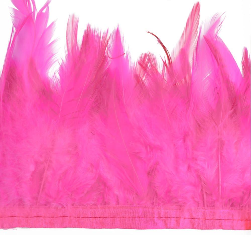 fleco plumas de gallo fucsia