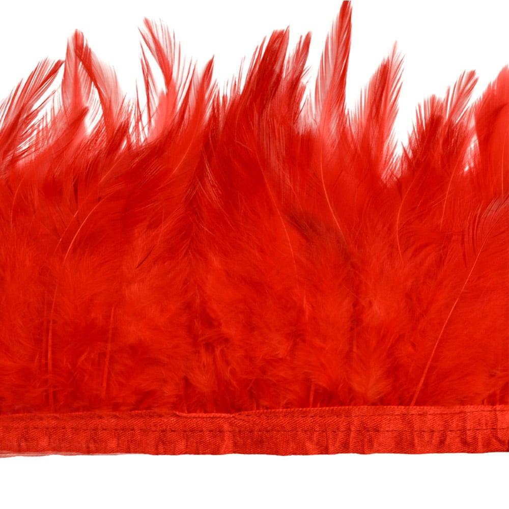 fleco plumas de gallo rojo