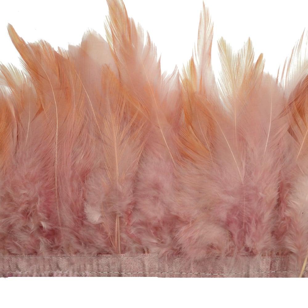 fleco plumas de gallo rosa nude oscuro