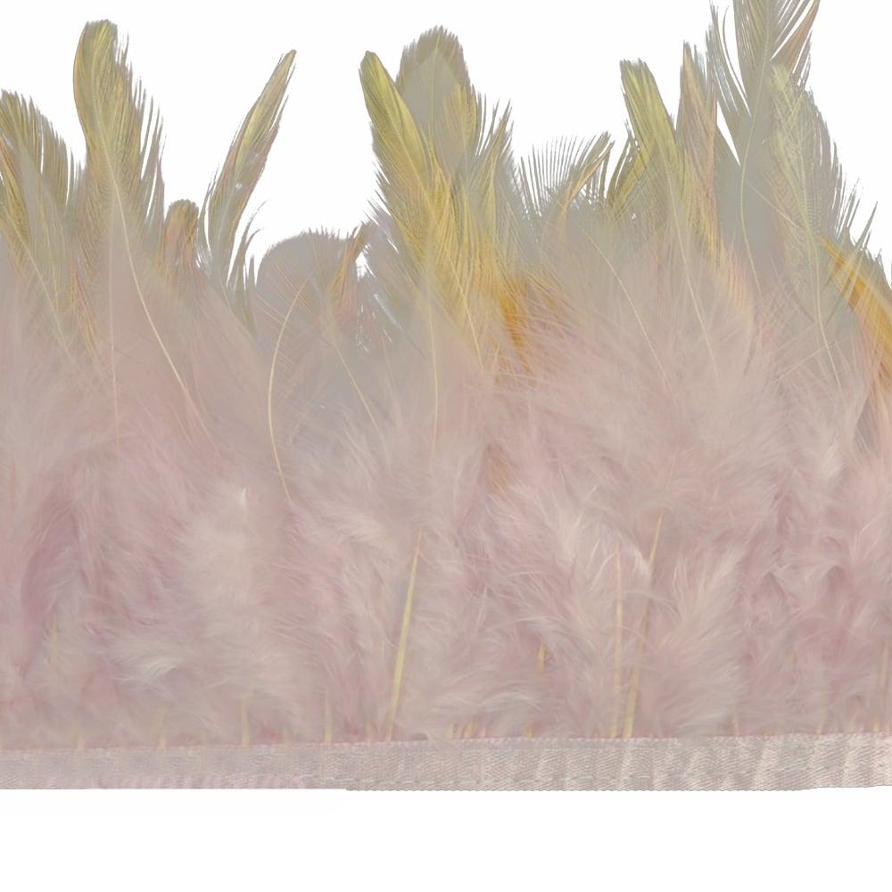 fleco plumas de gallo rosa nude
