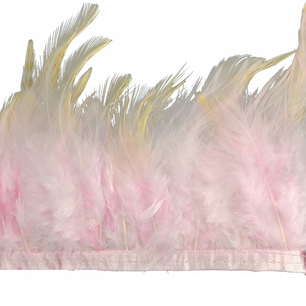 fleco plumas de gallo rosa