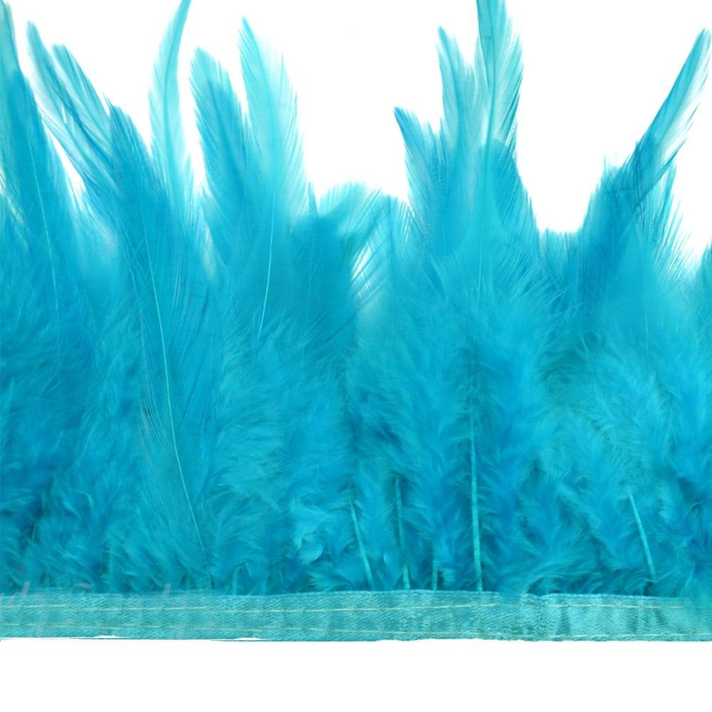 fleco plumas de gallo turquesa