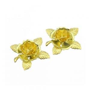 flor con hojas de laton 2 ud oro