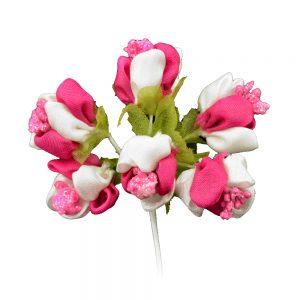 florecillas primavera de tela fucsia
