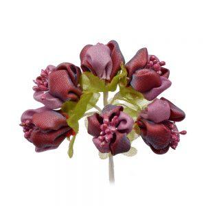 florecillas primavera de tela granate