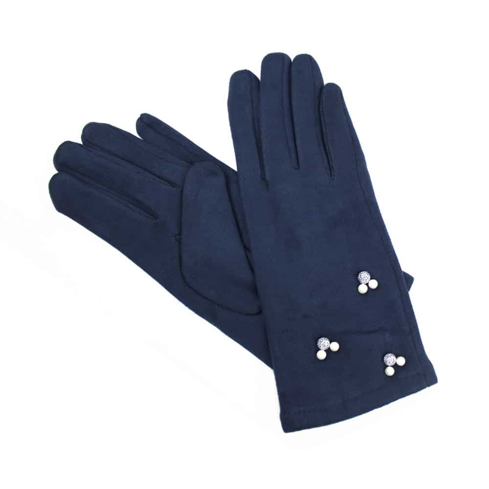 guantes antelina perlas azul marino