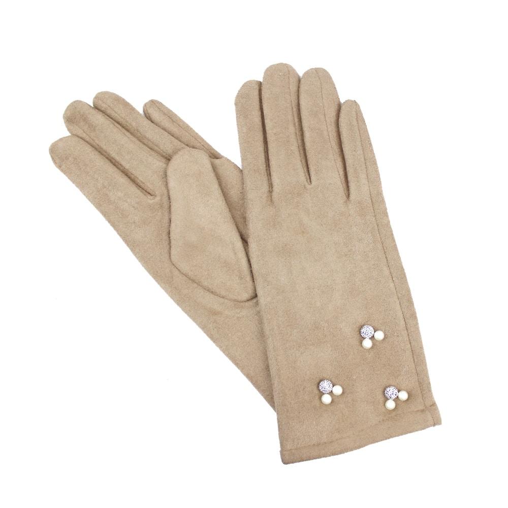 guantes antelina perlas camel