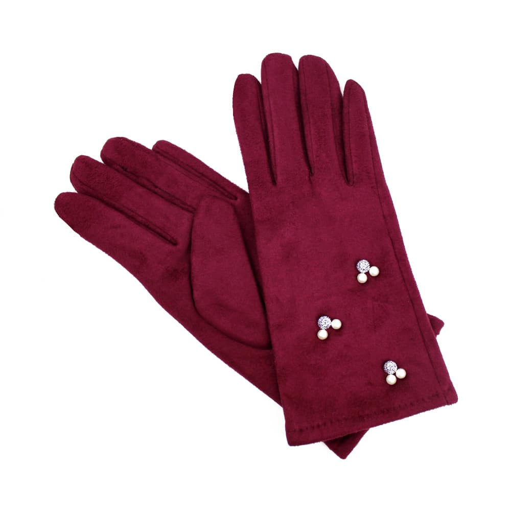 guantes antelina perlas granate
