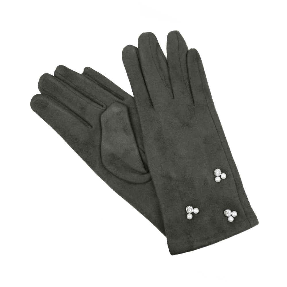 guantes antelina perlas gris