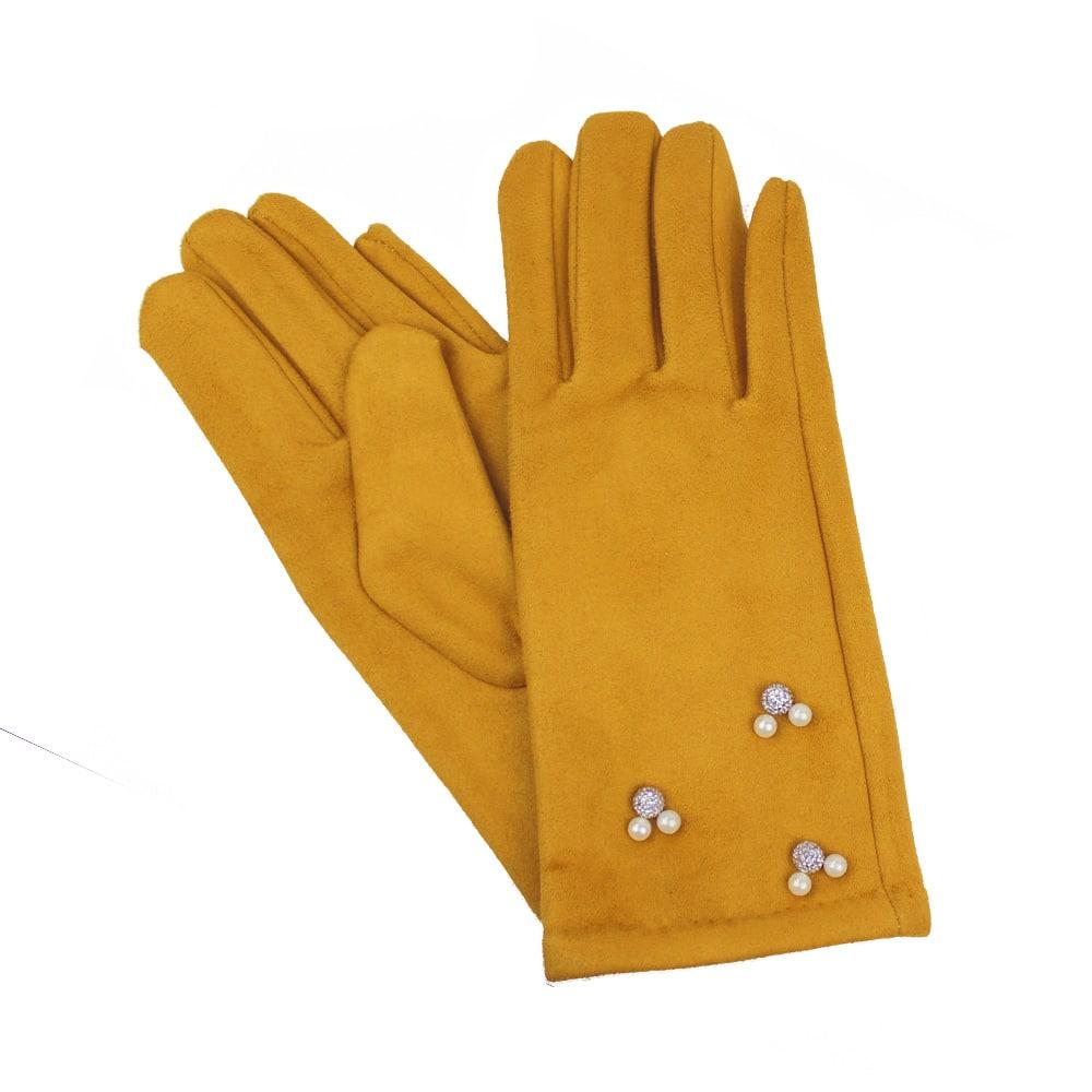 guantes antelina perlas mostaza