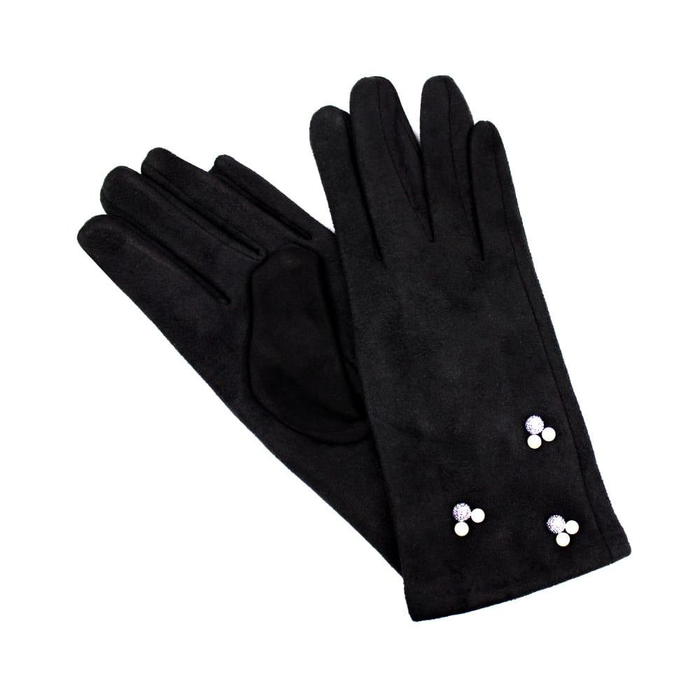 guantes antelina perlas negro