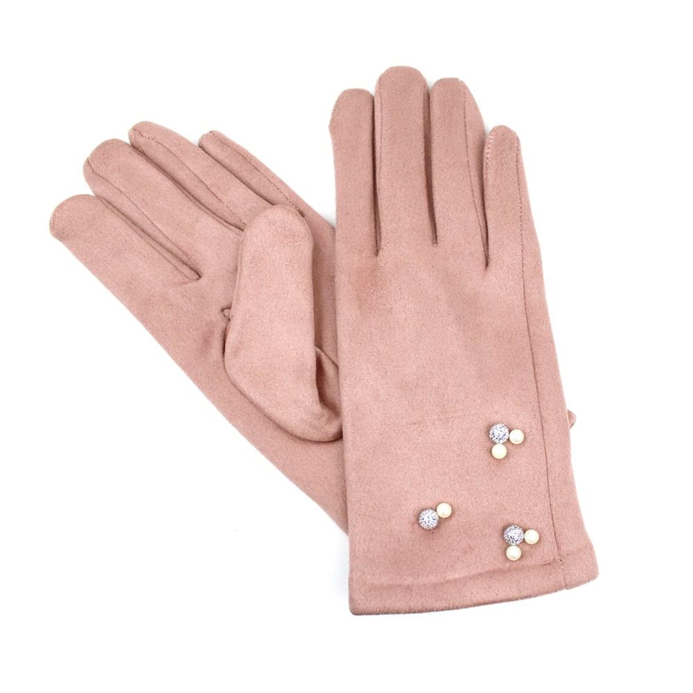 guantes antelina perlas rosa nude