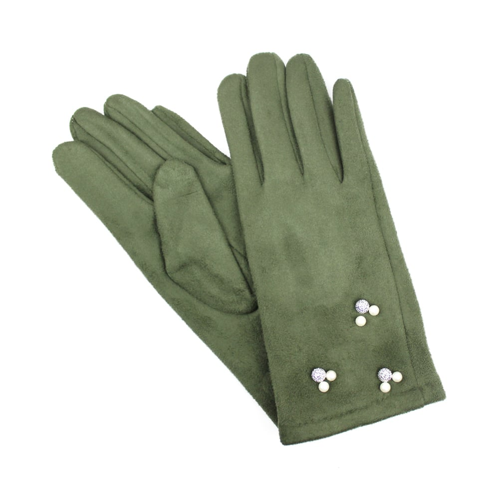 guantes antelina perlas verde cacería