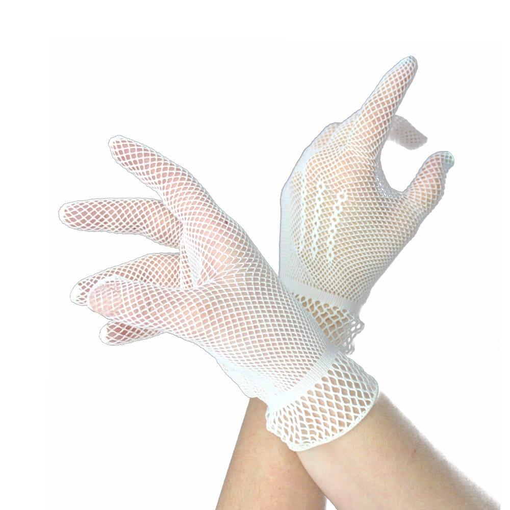 guantes de rejilla cortos blanco