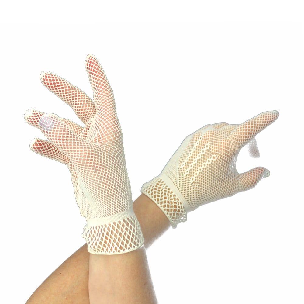 guantes de rejilla cortos crudo