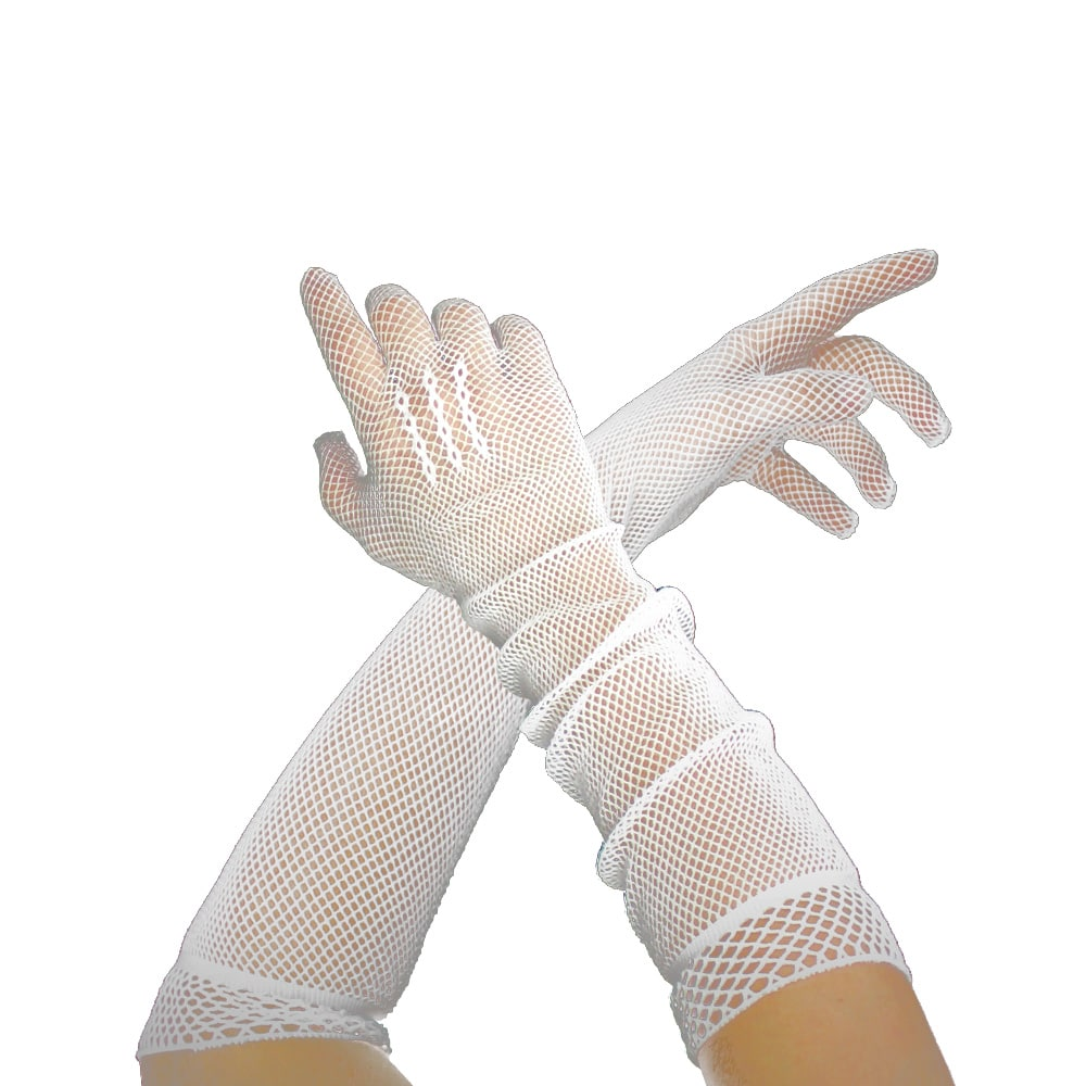 guantes de rejilla largos blanco