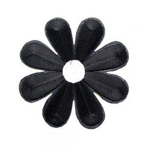 margarita bordada termoadhesiva negro
