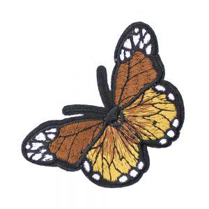 mariposa bordada termoadhesiva dorado y marron
